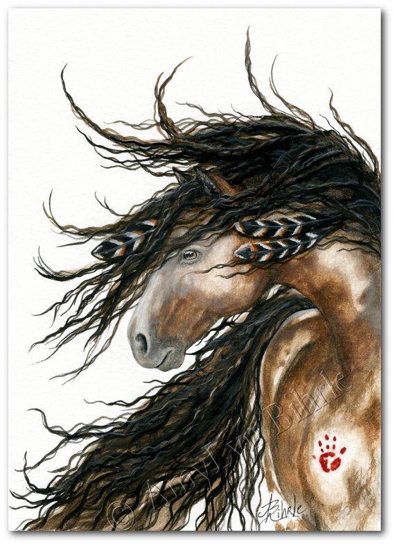Majestätische Pferd  Pinto Kriegsbemalung Federn  Fine ArT
