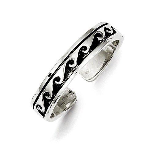 Sterling Silver Antiqued Wave Adjustable Toe Ring – Sparkle