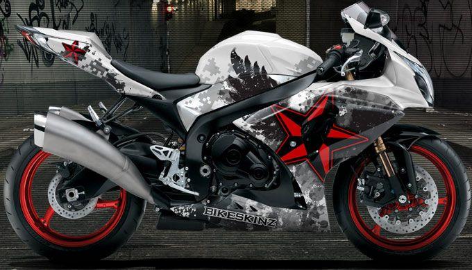 Bikeskinz Motorcycle Wrap Urban Warrior 3 4 White