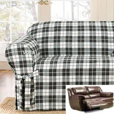 Reclining Loveseat Slipcover Suede Plaid Black And White