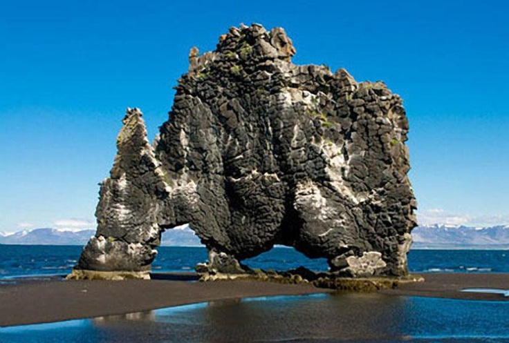 Many strange rock formations rising above lava plains, in ICELAND are said to be those of petrified trolls. One of the most dramatic is Hvitserkur, a troll cow poised forever taking a drink of sea water on the northwest coast. Source:Octavia Randolph, 2002