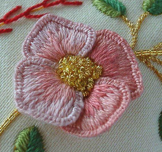 Stumpwork and Goldwork Wedding Ring Cushion ~  an old RSN kit ~ detail of wired fabric elements for stumpwork ~ embroidered by Elizabeth Braun of Sew in Love