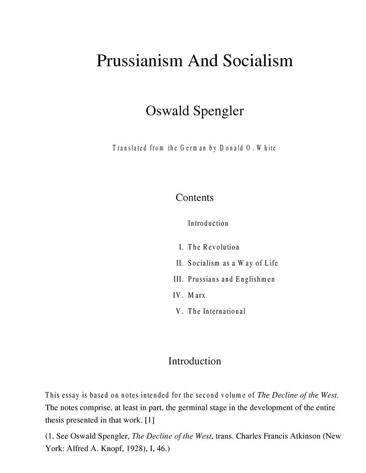 Prussianism And Socialism by Oswald Spengler