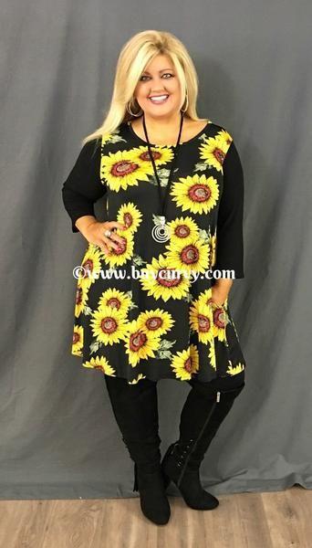 $32.99--2x/3x---#1-H Black Tunic Dress with Sunflower Print 1/26/18