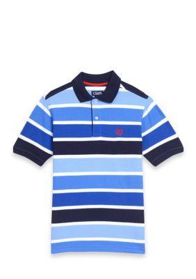 Chaps Boys' Striped Polo Shirt Boys 8-20 - Heritage Blue - Xl