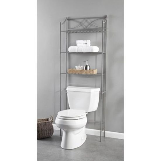 Bathroom Spacesaver Over The Toilet 3 Tier Satin Nickel Finish Storage Organize #ChapterLexingtonPark