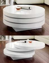 Triplo round swivel coffee table white