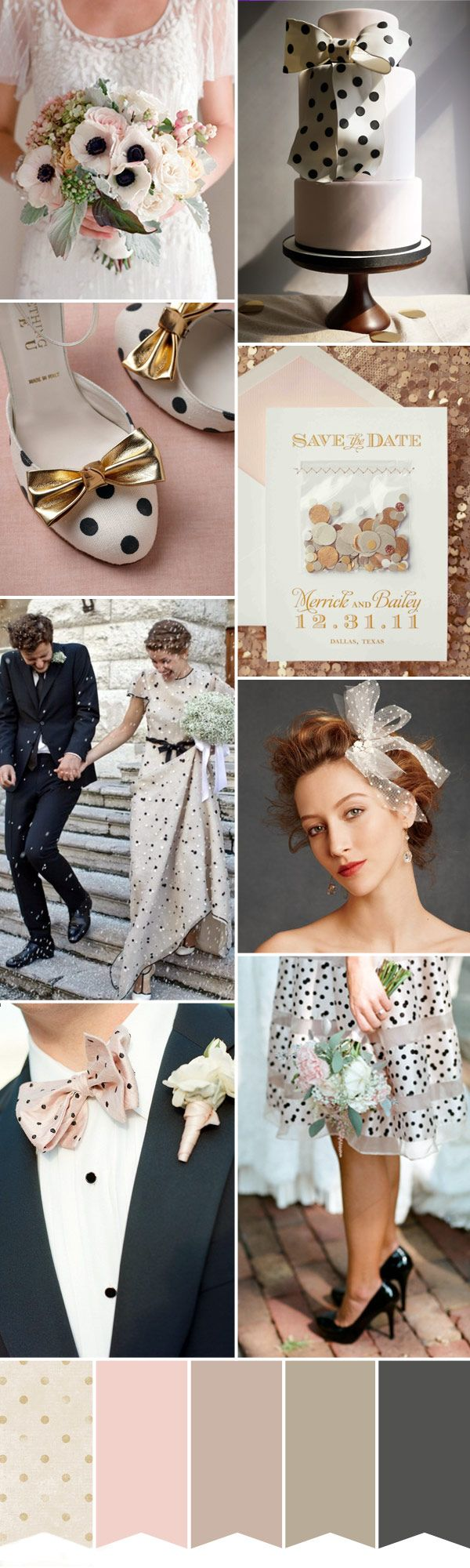That's really really nice pallette because of the dots ..Polka-Dot-Wedding -Inspiration-Blush-Gold-and-Grey Read more on http://onefabday.com/polka-dot-wedding-inspiration/