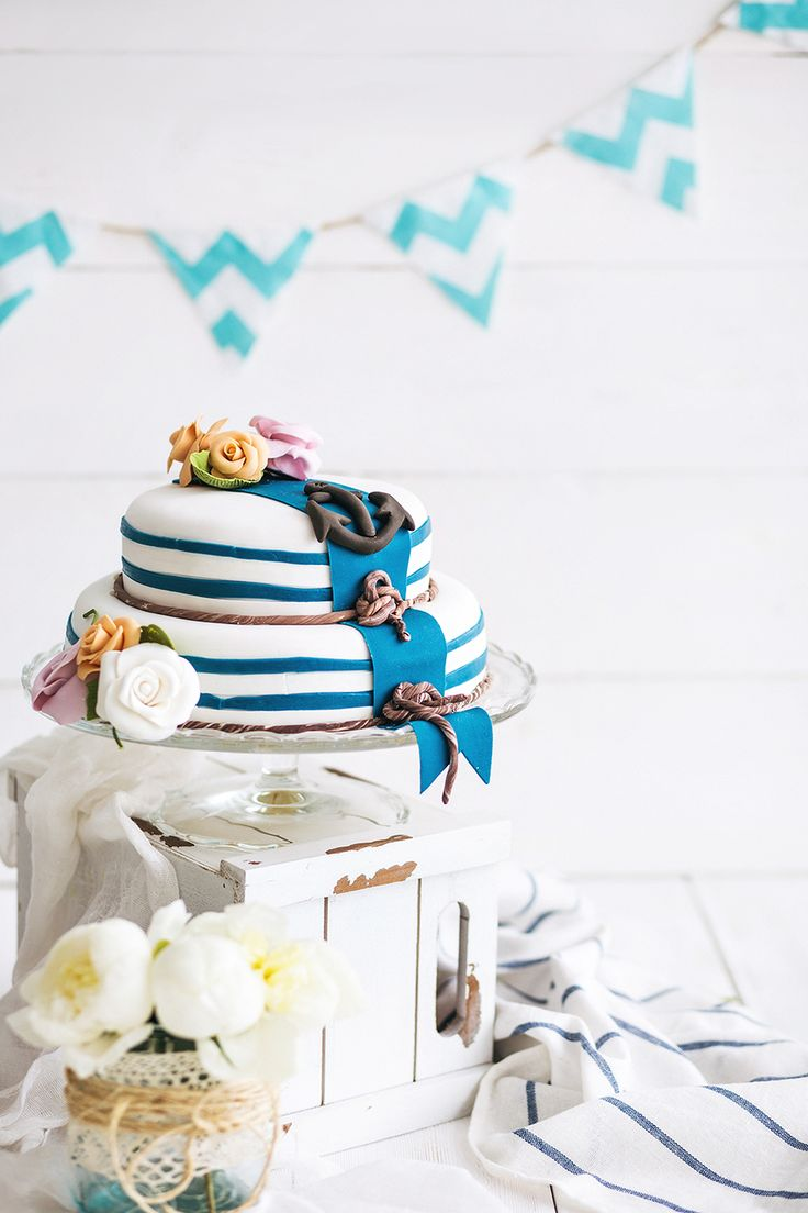 Свадебный торт в морском стиле. Perfect for any seaside wedding!
