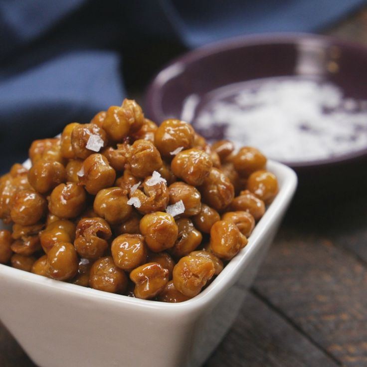 Craving a sweet and salty snack? Don't reach for those chips or that candy bar. Make these easy and tasty Honey Roasted Chickpeas instead!