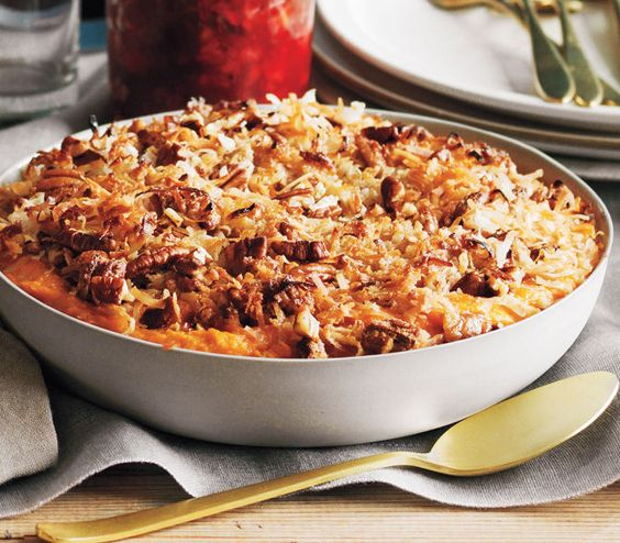 Sweet Potato Casserole with Coconut | Get the recipe: http://www.realsimple.com/food-recipes/browse-all-recipes/sweet-potato-casserole-00100000089154/index.html