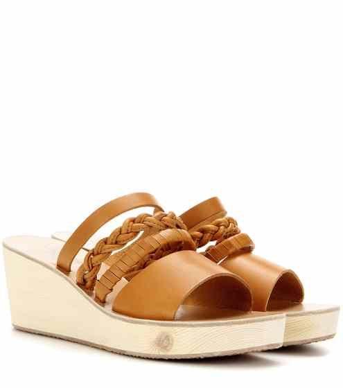 Mules compensées en cuir Helene | Ancient Greek Sandals
