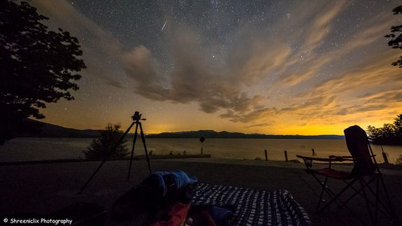 Photographer Shreenivasan Manievannan captured this stunning view of a Perseid meteor streaking across the sky near Lake Jocassee in South Carolina on Aug. 12, 2015 during the peak of the Perseid meteor shower.