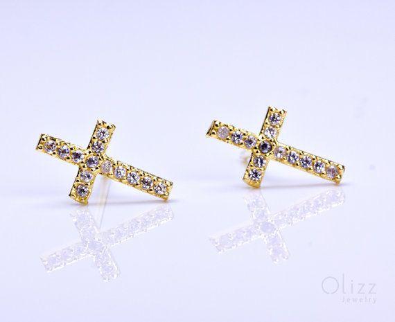 Gold cross stud earrings cubic zirconia earrings sterling