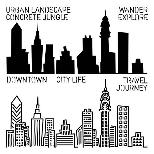 City Life template from The Crafter's Workshop!!  LOVE this!  Check out samples on my Scrapbooking & Art Journal Boards!Winter CHA 2013: Urban Landscape + Subway Stencils | The Crafter's Workshop