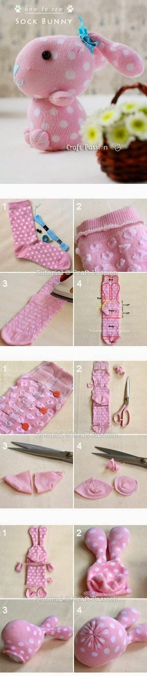 Sock Bunny Craft Tutorial. Adorable idea for mismatched or too small/too big…