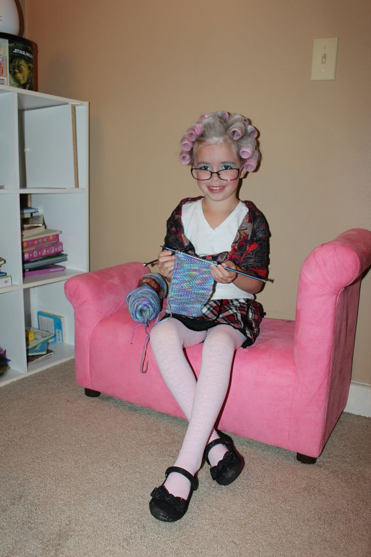 "Old lady costume! Roll the hair in velcro rollers, put baby powder in a sock and dust the hair after being rolled, use a scarf for a shawl, put on some glasses and any other ""old lady"" props!"