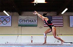 Hopefully none of my followers are daft enough to attempt to try UNLESS you're an actual gymnast ♂️.. (gif of Kyla Ross' front aerial+sheep jump)
