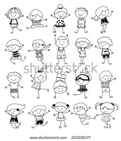 group of kidsdrawing sketch stock vector