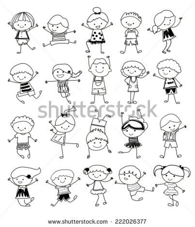 group of kidsdrawing sketch stock vector - Sketches Of Kids