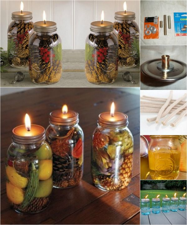 Fabulous DIY Scented Mason Jar Oil Candles These oil candles are just brilliant! Not only do they create a lovely ambiance for your Christmas or romantic dinner, but they look fantastic, last longer than regular candles, are homemade, and will make your home smell absolutely delicious.