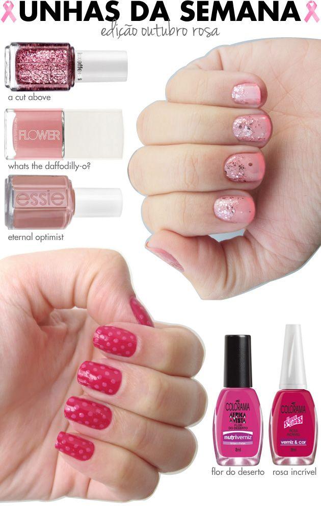 unhas de segunda, unhas diferentes, nail art, edicao especial, outubro rosa, campanha conta o cancer de mama, ombre glitter, rosa, inglesinha, poas, ton-sur-ton