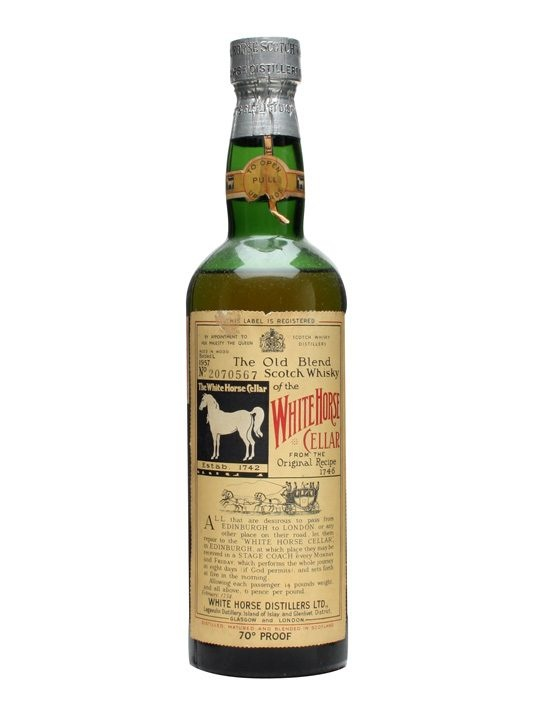 White Horse / Bot.1957 : Buy Online - The Whisky Exchange - A great looking bottle of White Horses blended Scotch whisky from the 1950s - 1957, to be exact, as it says on the label. Please note that the level of liquid in this bottle is below the neck as p...