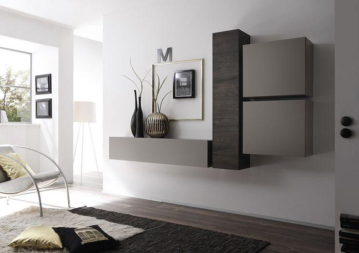 Ensemble de meubles suspendus FOUGERE, coloris wengé et gris mat