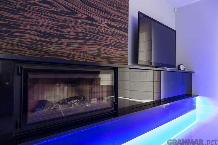 #granite #Nero #Assoluto #fireplace by GRANMAR.net