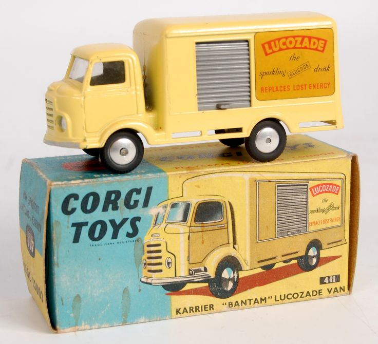Lot 1729 - Corgi Toys, 411 Karrier Bantam Lucozade van, yellow body with grey shutter, smooth hubs with