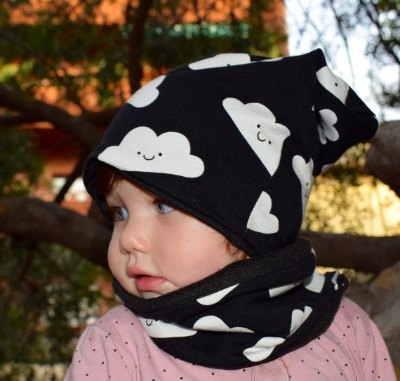 Toddler Scarf and Beanie Set, Snap Scarf Hat Clouds Set, Double-sided Slouchy Beanie, Baby Infinity Scarf, Xmas Gifts, Baby Shower Gift