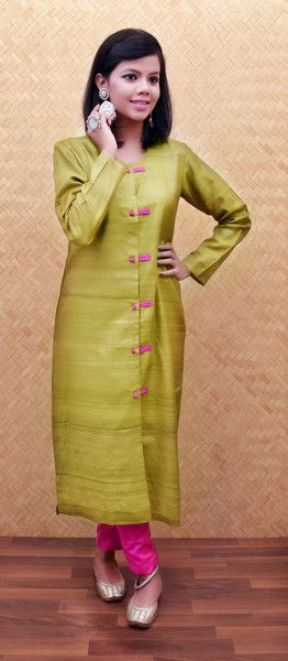 Green Tussar Silk Jacket Style Kurta with pants just for Rs. 7155  #HandmadeWithLove #TussarSilk #RockThisLookWithZoyashi #SilverJewellery #CompleteLook #MadeInIndia #TussarSilk