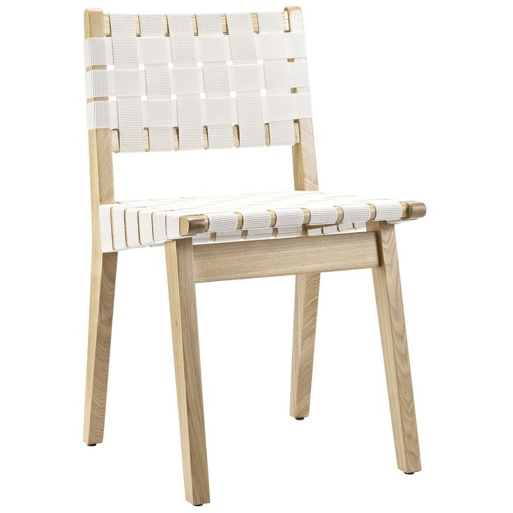 Modern White Webbed Seat Side Chair Wood Frame New