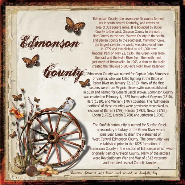 edmonson county dating Edmonson county researchers, everywhere, are indebted to sandi gorin and eva coe peden for the monumental effort required to compile and transmit this data, which stands as a permanent tribute to their contributions to kentucky genealogy and history.