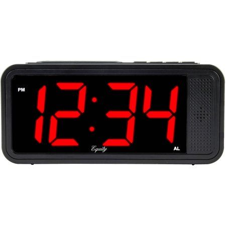 Equity by La Crosse 75907 1.8 inch LED Simple Set Alarm Clock with Dimmer, Black
