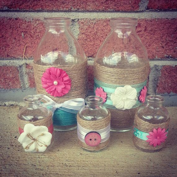 Cute Shabby Chic Decorated Jar Set Perfect by BeautifulFoundations, $15.00