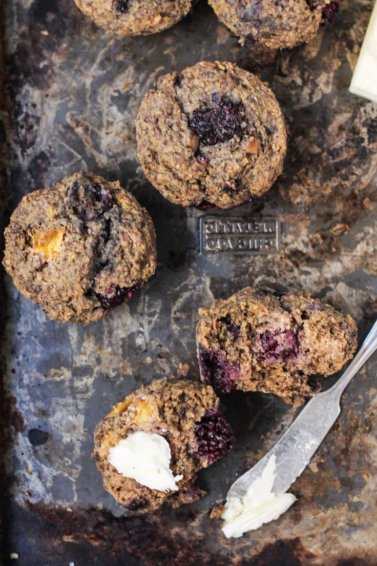 Blackberry Peach Oat Bran Muffins with Chia + Flax {vegan & gluten free} | Ambitious Kitchen