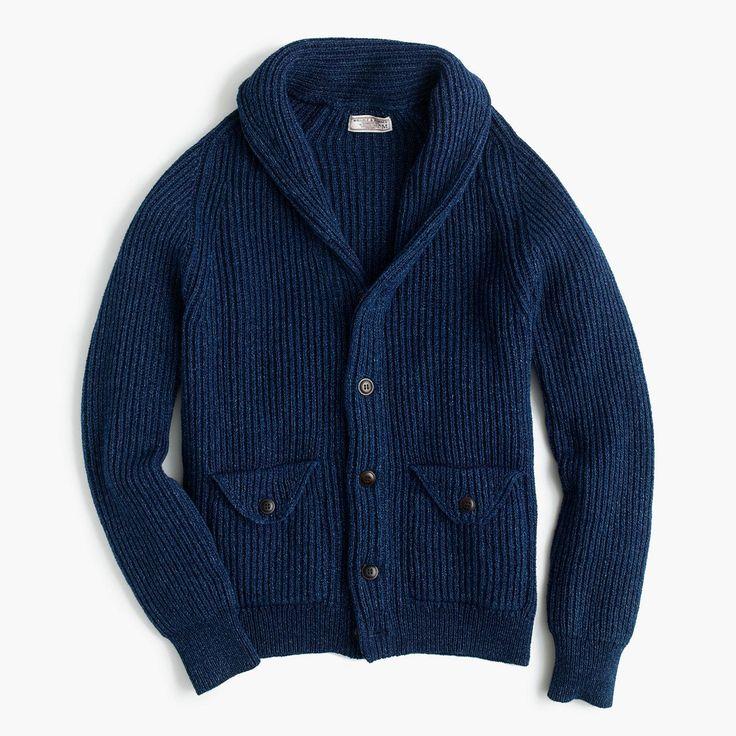 J.Crew Womens Wallace & Barnes Indigo Cotton Shawl Cardigan Sweater (Size XL)
