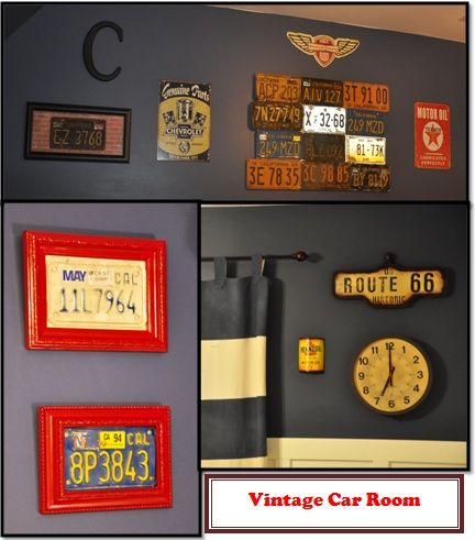 Big boy vintage car room- lots of license plates!
