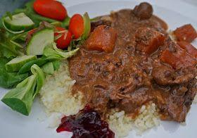 BoeufBourguignon med älgkött. Crock-Pot