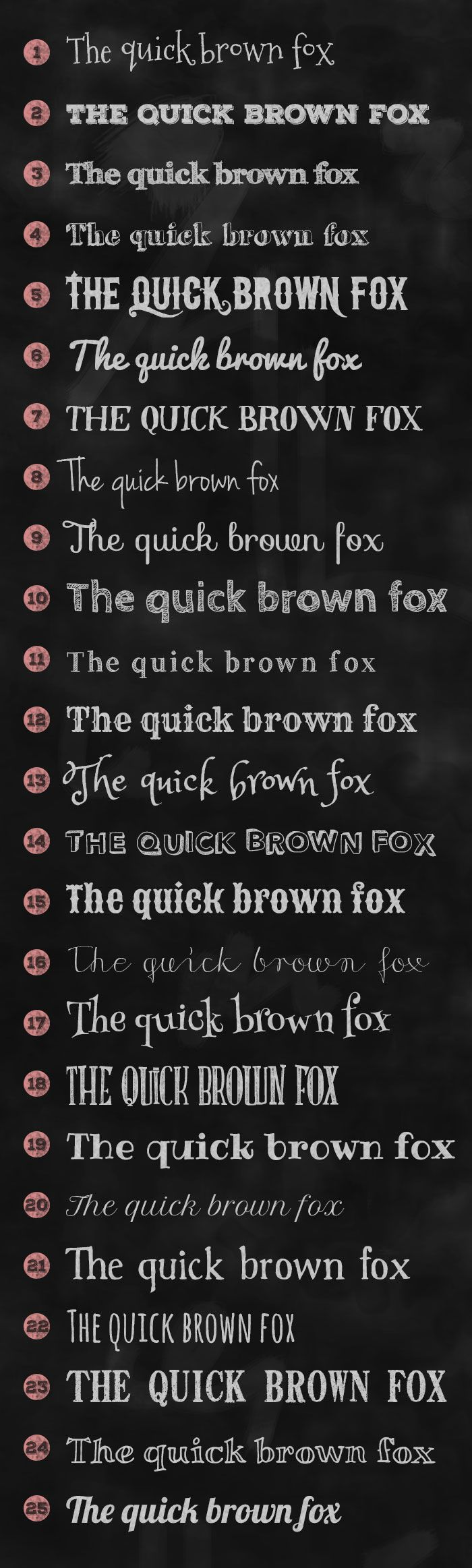 I've recently been looking into creating a chalk board design and I started looking for the perfect font! I love the chalk board designs where the fonts are all mismatched together and handwriting