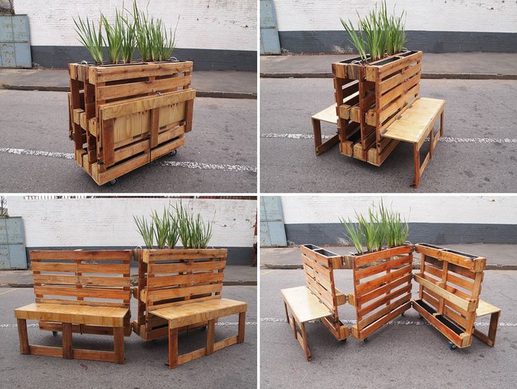 pallets into furniture. r1 recycles wooden pallets into interlocking mobile benches for johannesburg furniture