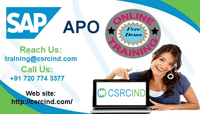 SAP APO online training @csrcind  https://csrcind.com/online-training/sap-apo/   Here is the opportunity to accelerate your career growth.    The #SAP #APO #training #course from CSRCIND is designed to enhance your knowledge and skills to become a successful developer. In-depth knowledge of core concepts will be covered in the #course.  call :+91- 7207743377  Mail : training@csrcind.com