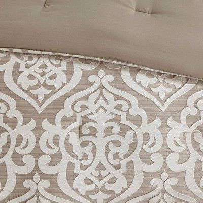 Eliot Queen 8pc Jacquard Comforter Set Tan