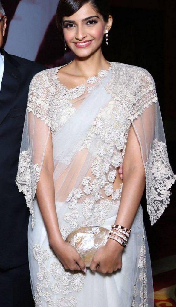 Sonam Kapoor in saree with a cape #Bollywood #SonamKapoor #Saree