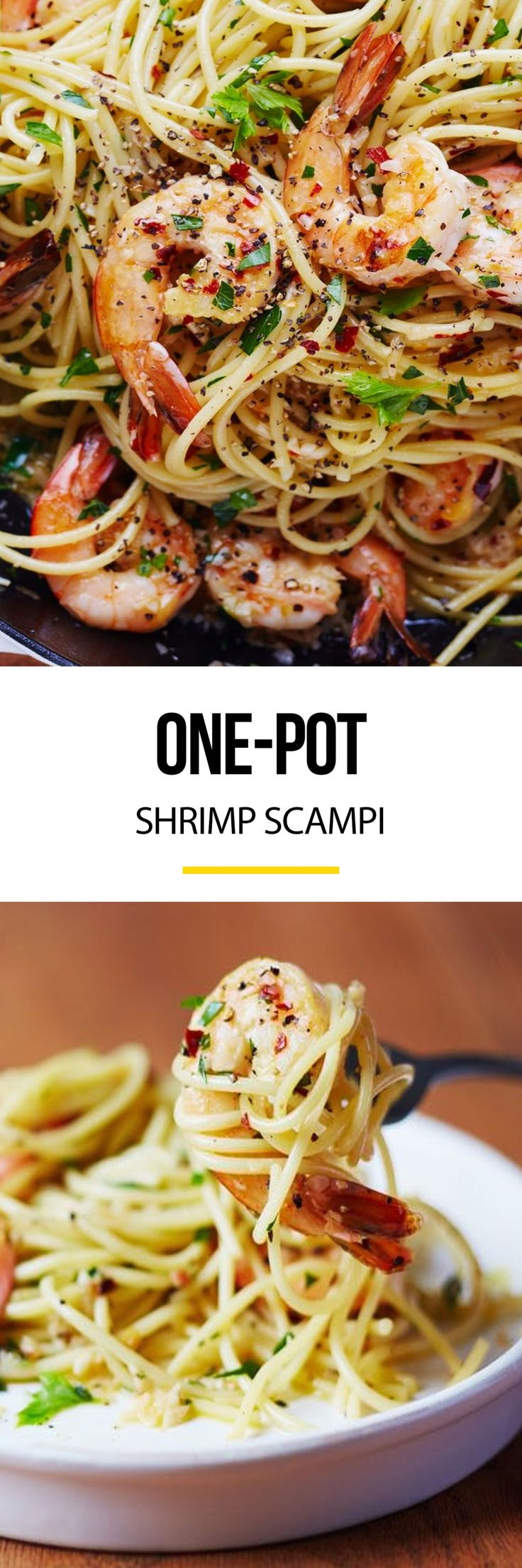 Easy One-Pot Shrimp Scampi Recipe. This is a quick and easy meal or weeknight dinner that ANYONE can master. Get food on the table fast by keep a few simple pantry staples on hand: frozen shrimp, spaghetti (or linguini - whichever pasta you like), butter, parsley, and lemon. Why go to red lobster when you can make this DELICIOUS treat - one of our favorite meals at red lobster - at home any day of the week!?