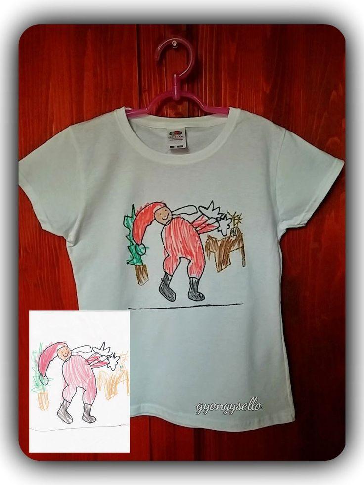 5 éves kislány rajza alapján, kézzel festett gyerek póló