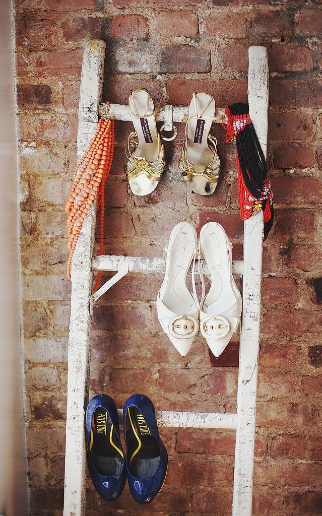 Shoe Organization: Hang heels on a ladder
