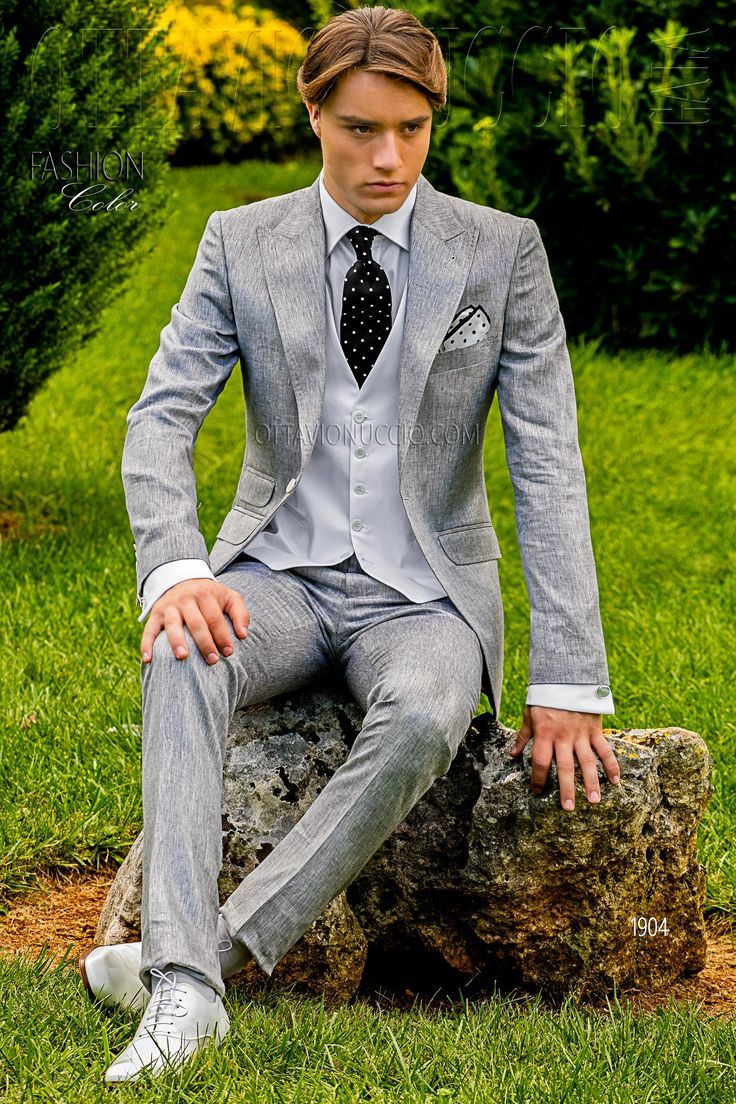 Pure pearl gray linen Hipster suit  #wedding #groom #tuxedo #luxury #menswear #menstyle #dapper #madeinitaly #alternative #trend #bespoke