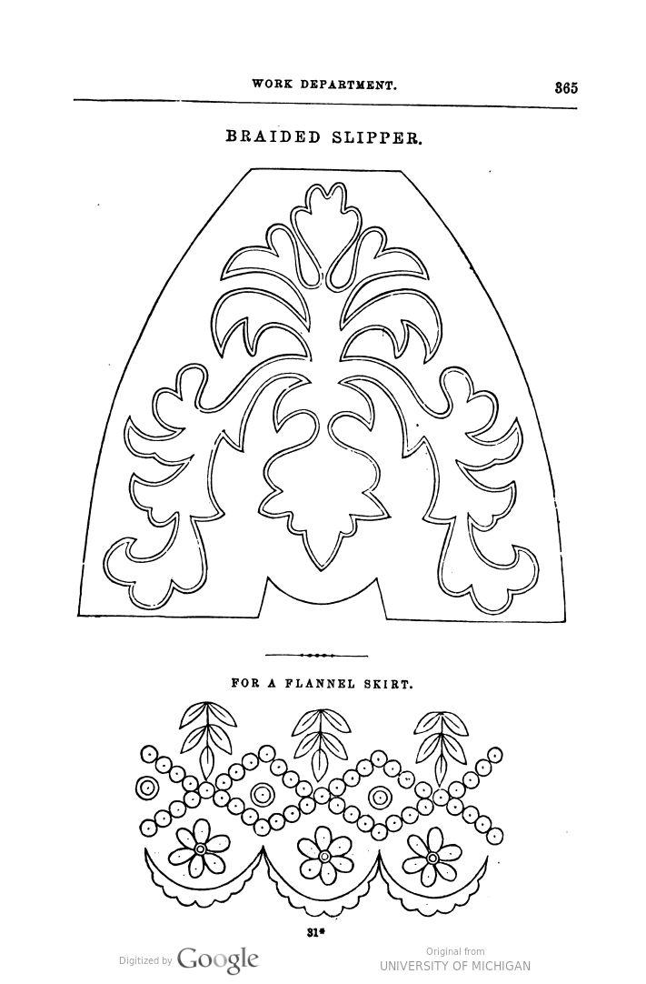 1858 Godey's. Braided slipper pattern.
